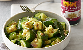 Recipe- Smashed Cucumber Salad with Garlic and Vinegar Dressing [Serves 4]