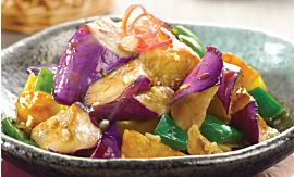Recipe- Stir-fried Eggplant Potato and Green Bell Pepper [Serves 4]