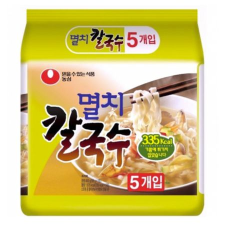 Nongshim Anchovy Kal Guk Soo (Non-Fried Noodle Soup with Dried Anchovy Broth) 98g (Pack of 5)