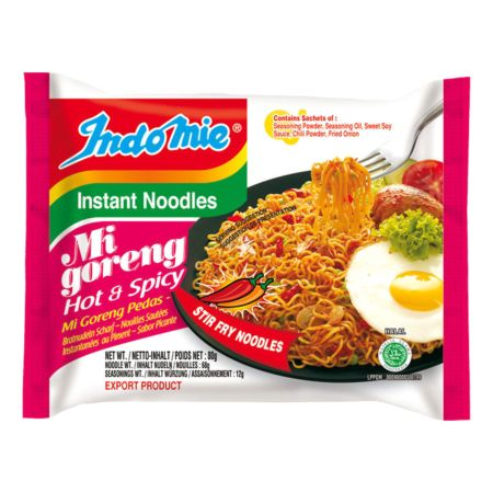 Indomie Mi Goreng Pedas Fried Noodles - Hot & Spicy 80g