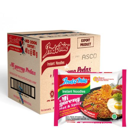 Indomie Mi Goreng Pedas Fried Noodles - Hot & Spicy 80g (Pack of 40)