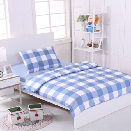 Bedding Set (Blue) - Single Size (Pillow x 1, Duvet Cover x 1, Fitted Bed Sheet x 1)