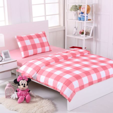 Bedding Set (Pink) - Single Size (Pillow x 1, Duvet Cover x 1, Fitted Bed Sheet x 1)