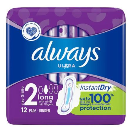 Always Ultra Long Sanitary Towels Wings 12 Pads  (Size 2)