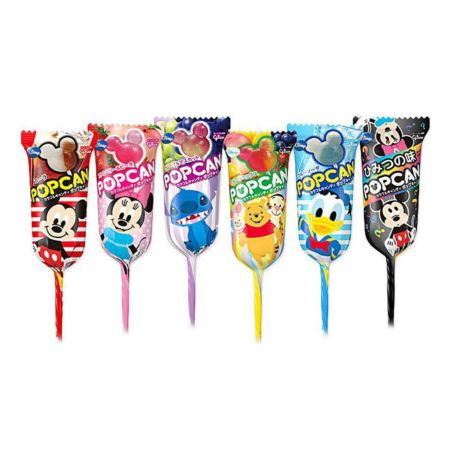 Glico Popcan Mickey Mouse Shape Lollipop Two Flavours Mixed Assorted Fruit Flavours 12.7g (6 Pieces)