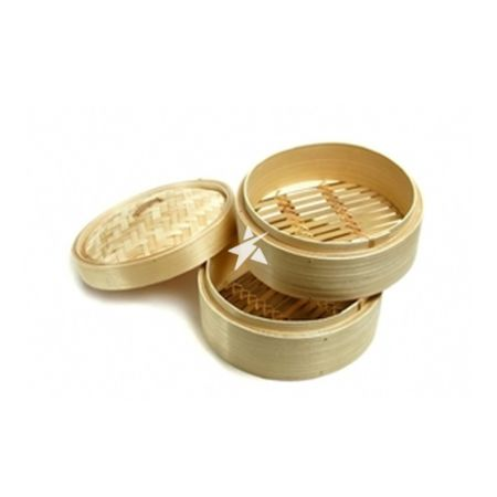 """7"""" Bamboo Steamer (2 pc)& Lid In Set"""
