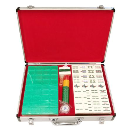 7 Inch Crystal Mahjong with Metal Case - Green Color 1 Set