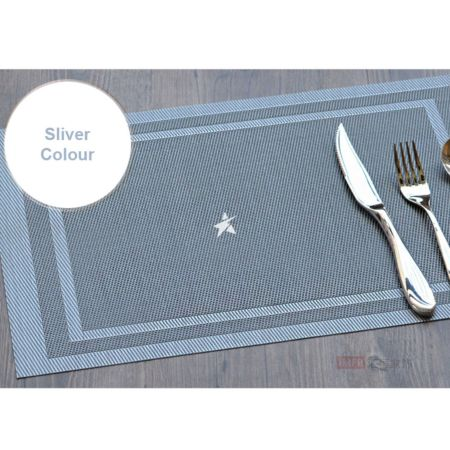 PVC Place Mat - Silver Colour Set of 4