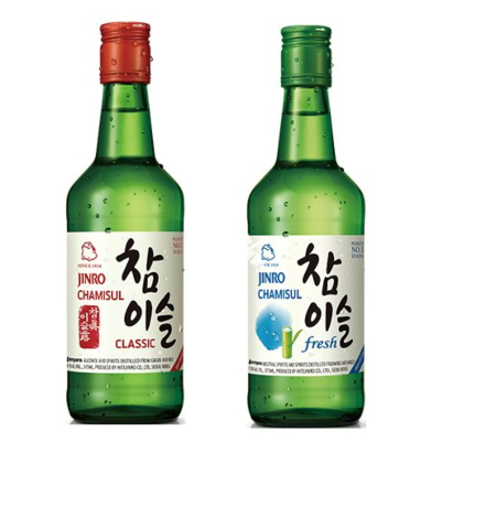 Jinro Chamisul Soju Duo pack - Classic 350ml alc 20.1% and Fresh 350ml 17.8% alc