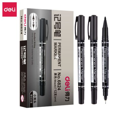 Deli Permanent Marker (Black|12pcs) [No.6824]