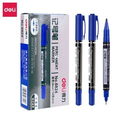 Deli Permanent Marker (Blue|12pcs) [No.6824]