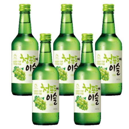 Jinro Chamisul Soju Green Grape Flavour 13% Alc./Vol 360ml (5 Bottles)