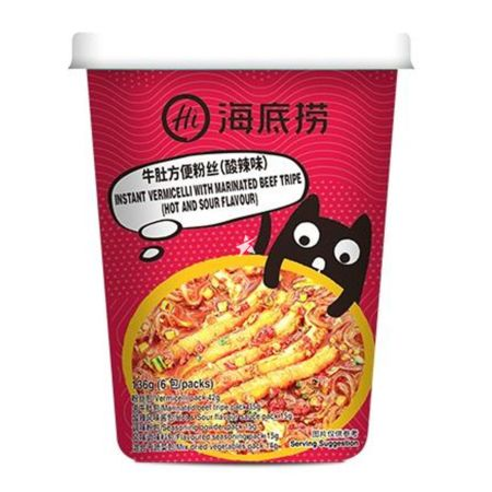 Haidilao Instant Vermicelli Hot and Sour Beef Tripe Flavour 136g