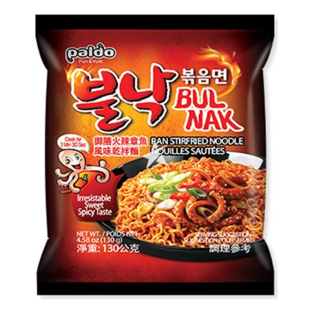 Paldo Bulnak Pan Stirfried Noodle Spicy (Octopus Flavour) 130g