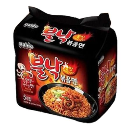 Paldo Bulnak Pan Stirfried Noodle Spicy (Octopus Flavour) 130g (Pack of 4)