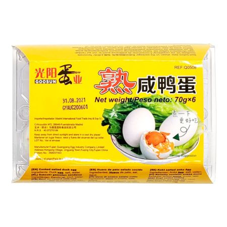Guang Yang Cooked Salted Duck Egg 6 Pieces 420g