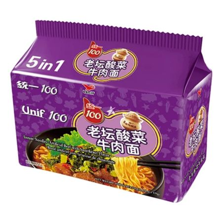 Unif 100 Instant Noodle - Artificial Beef with Sauerkraut Flavour (119g*5Packs) 595g