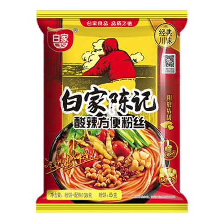 Baijia Instant Sweet Potato Vermicelli - Original Sour & Hot Flavour 105g