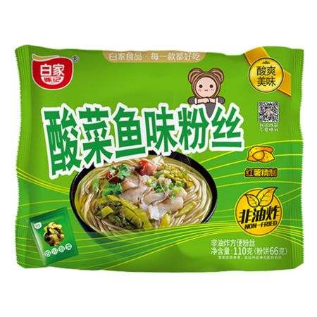 Baijia Instant Sweet Potato Vermicelli - Pickled Cabbage Fish Flavour 110g