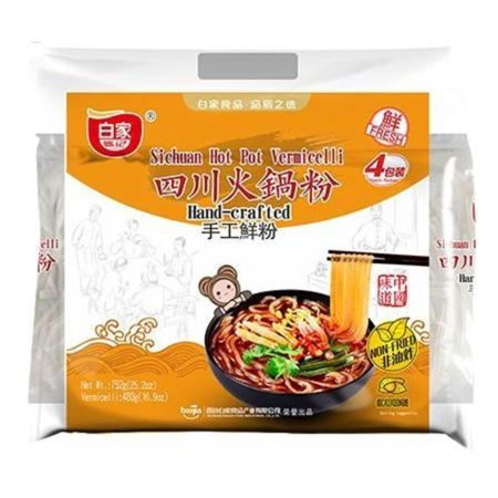 Baijia Hand-Crafted Sichuan Hot Pot Vermicelli (188g*4 Packs) 752g