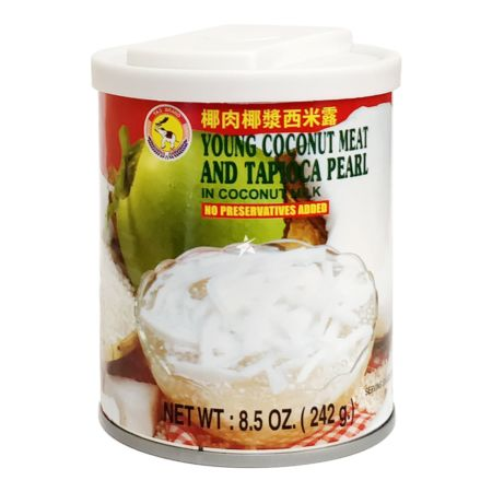 Tas Brand Young Coconut Meat and Tapioca Pearl in Coconut Milk 242g