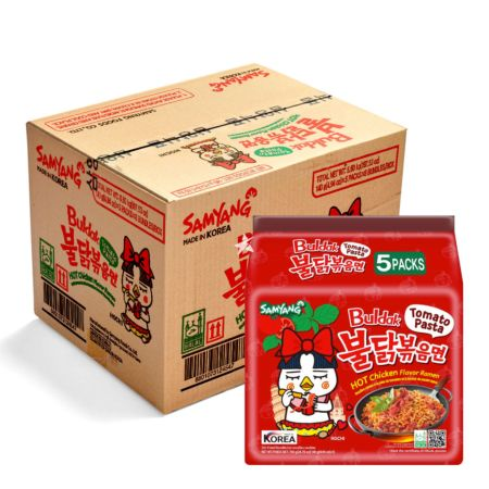 Samyang Buldak Hot Chicken Ramen - Tomato Pasta 140g (Pack of 40)