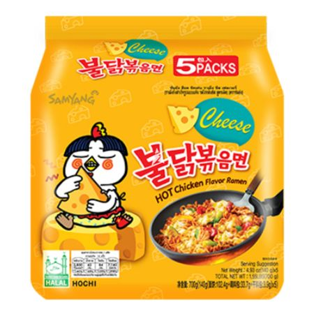 Samyang Buldak Hot Chicken Flavour Ramen - Cheese 140g (Pack of 5)