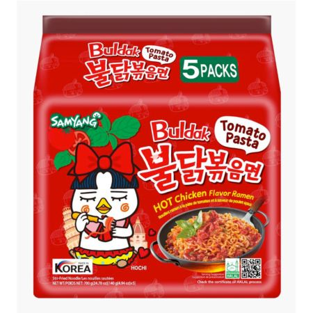 Samyang Buldak Hot Chicken Ramen - Tomato Pasta 140g (Pack of 5)