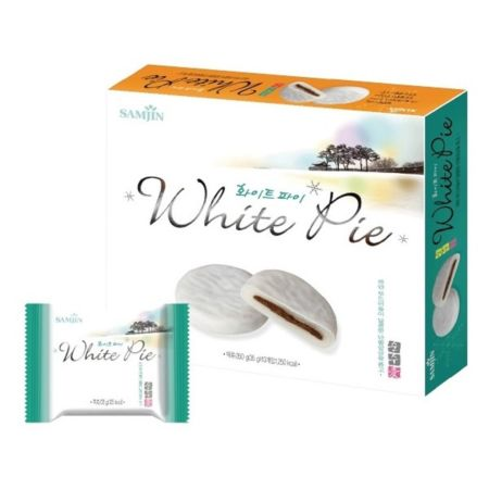 Samjin White Mochi Pie (Filled with Red Bean) 10 Pieces 350g