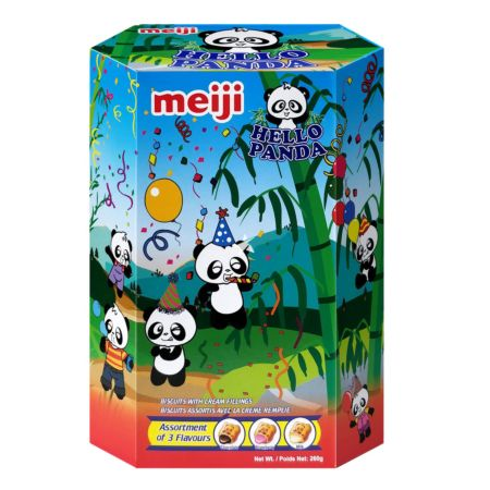 Meiji Hello Panda Biscuits with Cream Fillings Assortment of 3 Flavours (Chocolate, Strawberry, Milk) 260g