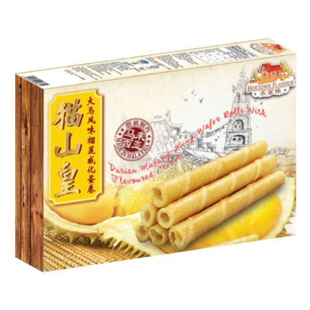 Hoetown Flavour Durian Musang King Wafer Rolls with Flavoured Cream 120g