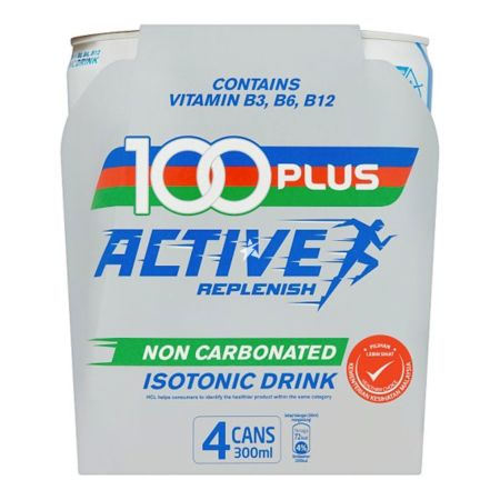 100 Plus Active Replenish 无气运动饮料 300ml*4 Tin