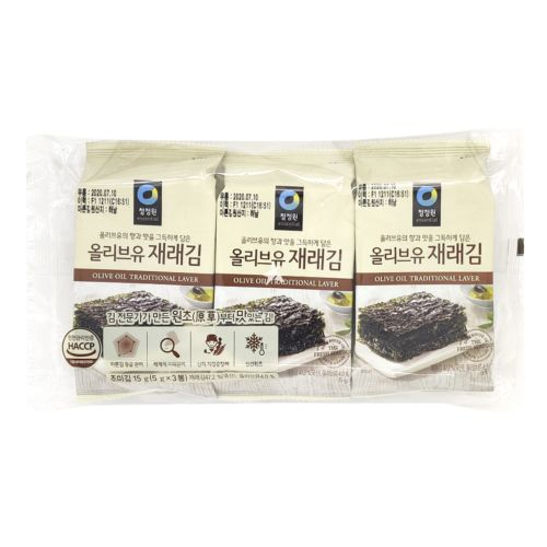 Daesang Chung Jung One Olive Oil Traditional Laver (5g*3) 15g