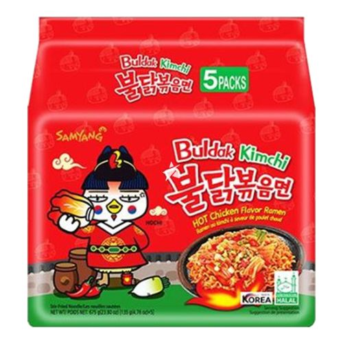 Samyang Buldak Hot Chicken Flavour Ramen - Kimchi 135g (Pack of 5)