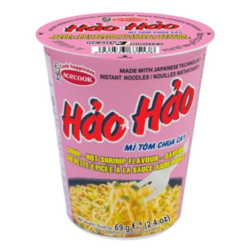 Acecook Hao Hao Instant Noodle in Cup Sour & Hot Shrimp Flavour 70g