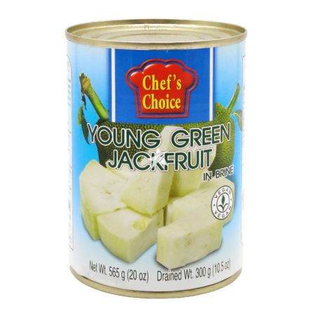 Chef's Choice Young Green Jackfruit in Brine Drained Wt. 300g Net. Wt. 565g