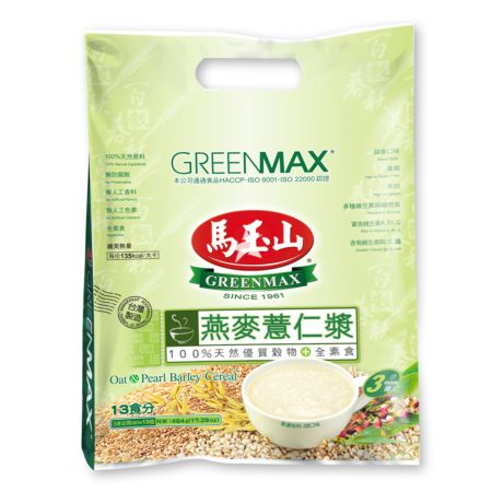 Greenmax Oat and Pearl Barley Cereal (38g*13 Packs) 494g