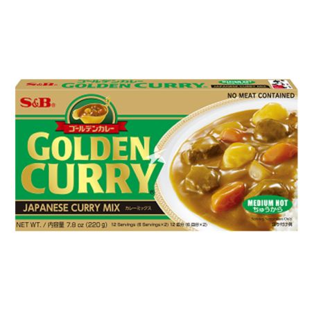 S&B Golden Curry Sauce Mix - Medium Hot (No Meat Contained) 220g