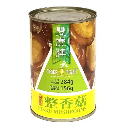 Tiger Tiger Po-Ku Mushrooms (Whole) Drained Weight 156g Net Weight 284g