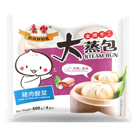 Honor Handmade Bun 4 Pieces - Pork with Pickeled Cabbage 600g