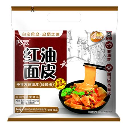 Baijia A-kuan Sichuan Broad Noodle - Sour and Hot Flavour (Pack of 4) 420g