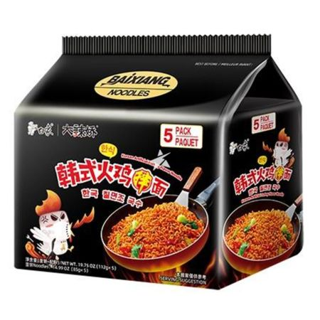 Baixiang Stir Fried Noodle Korean Artificial Hot Chicken Flavour 112g (Pack of 5)