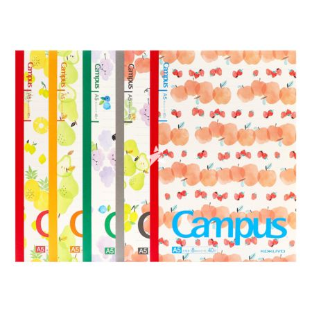 Kokuyo Campus Notebook (Dot and Line) A5 40pages - Summer Fruit Pattern (Set of 5)