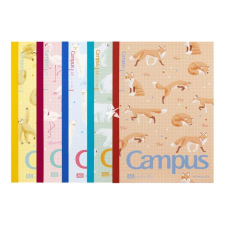 Kokuyo Campus Notebook (Grid) A5 40pages - Cuddly Animals Pattern (Set of 5)