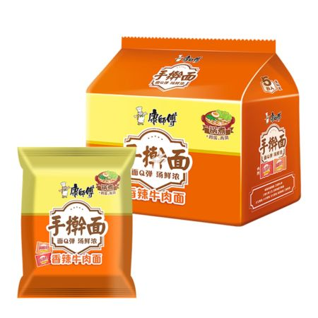 Master Kong Handmade Noodle Spicy Artificial Beef Flavour 120g (Pack of 5)
