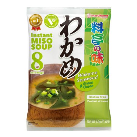 Marukome Instant Miso Soup with Wakame Seaweed and Green Onion (Gluten Free) 8 Servings 152g
