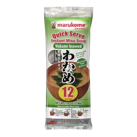Marukome Quick Serve Instant Miso Soup with Wakame Seaweed 12 Servings 216g